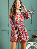 Floral Print Shirred Waist Layered Dress