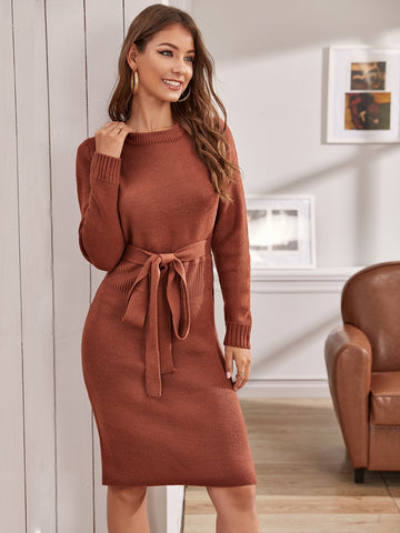 Solid Belted Midi Pencil Sweater Dress