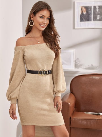 Off Shoulder Lantern Sleeve Sweater Dress Without Belt