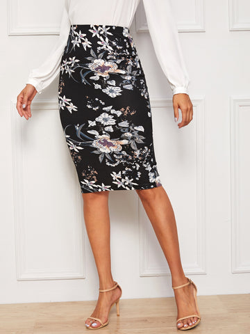 Botanical Print Pencil Skirt