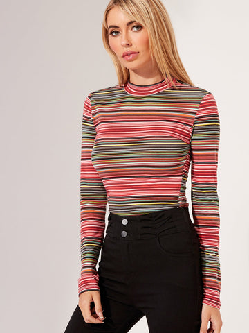 Mock-Neck Striped Top