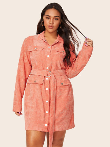 Plus Corduroy Flap Pocket Belted Shirt Dress | Amy's Cart Singapore