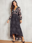 SBetro Polka-dot & Floral High Low Hem Dress