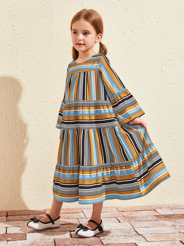 Toddler Girls Striped Flounce Sleeve Ruffle Hem Smock Dress