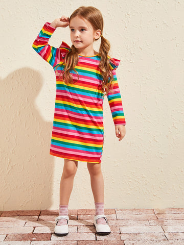 Toddler Girls Rainbow Striped Ruffle Trim Tee Dress