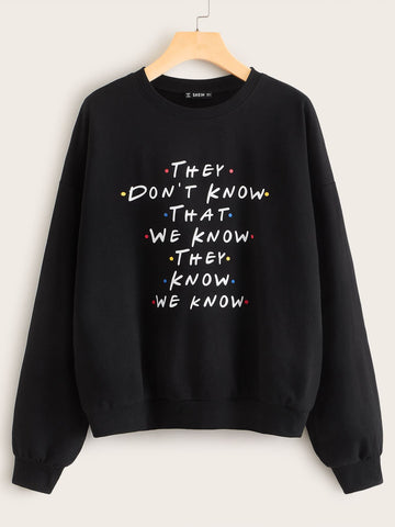 Drop Shoulder Slogan Print Pullover