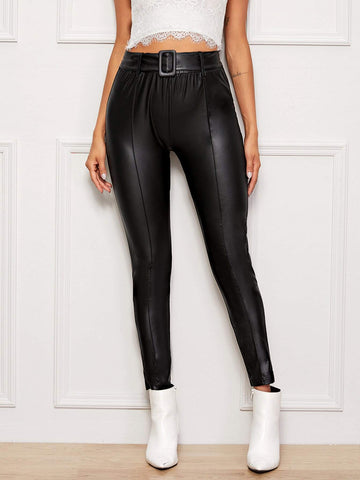Buckle Belted Leather Look Pants