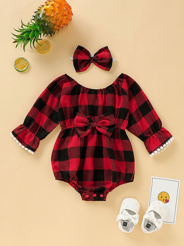 Baby Girl Bow Front Buffalo Plaid Romper With Headband