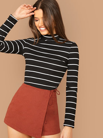 Rib-knit Striped Fitted Tee