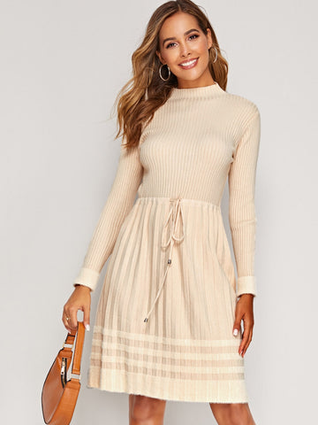 Mock Neck Drawstring Waist Pleated Hem Sweater Dress