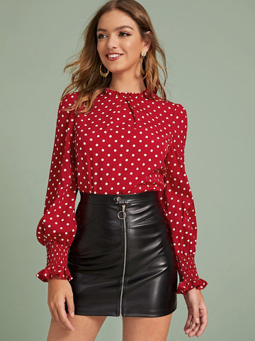 Polka Dot Shirred Frill Cuff Blouse