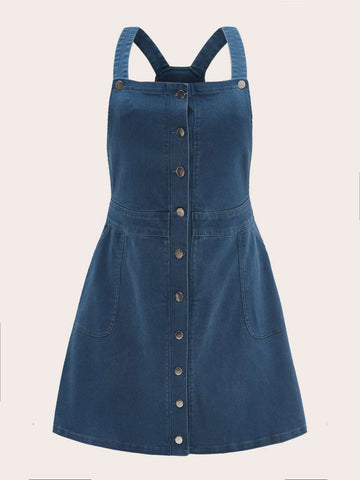 Plus Button Front Denim Pinafore Dress