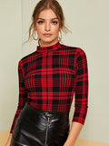Mock Neck Plaid T-shirt