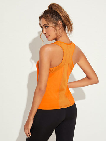 Neon Orange Racer Back Tank Top