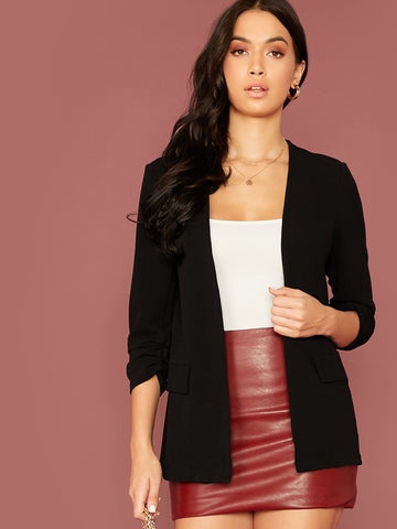 Ruched Detail Sleeve Open Front Blazer