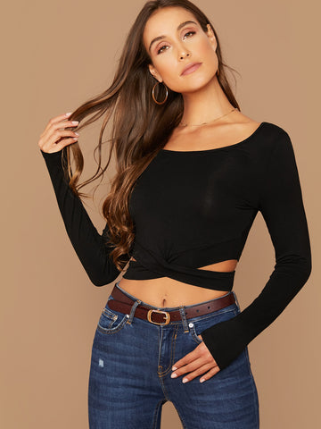 Solid Cut Out Crisscross Front Crop Top