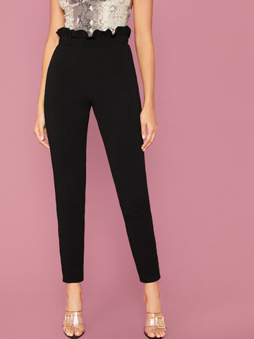 Paperbag Waist Plain Pants