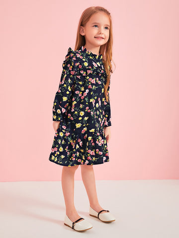 Toddler Girls Floral Frill Trim Ruffle Hem Dress Without Bag