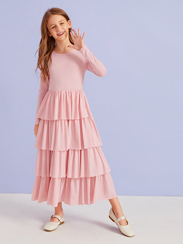 Girls Solid Tiered Layered Dress