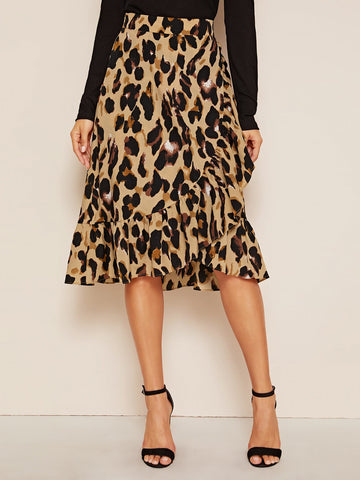 Allover Print Asymmetrical Ruffle Hem Skirt