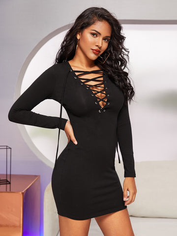 Lace Up Neck Bodycon Dress