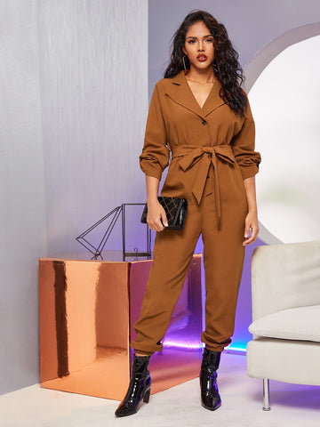 Notched Collar Buttoned Roll-up Sleeve Self Belted Jumpsuit