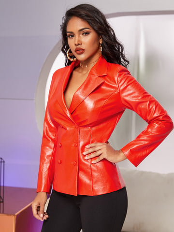 Notched Collar  Double Breasted Patent Blazer