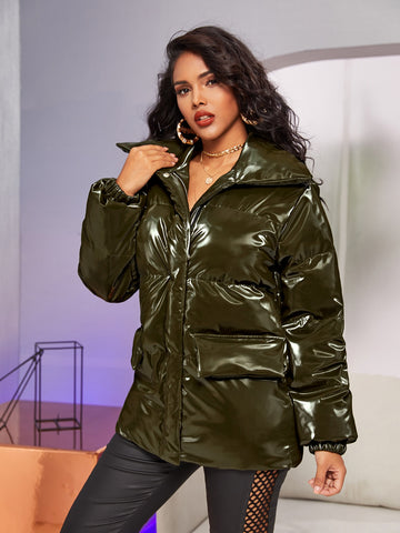 Patent Leather Puffer Coat