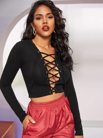 Plunge Neck Grommet Lace Up Front Crop Top