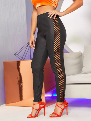 Solid Fishnet Mesh Sideseam Pants