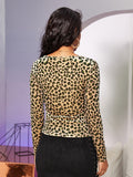 Hook and Eye Front Leopard Fitted Velvet Top
