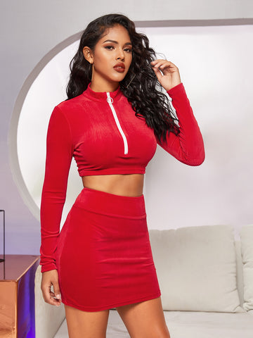 O-ring Zip Half Placket Velvet Top and Bodycon Skirt Set