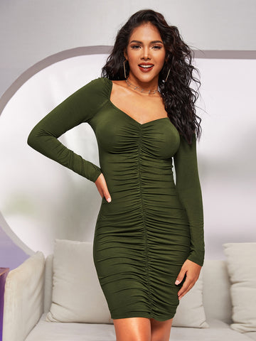 Sweetheart Neck Ruched Bodycon Dress