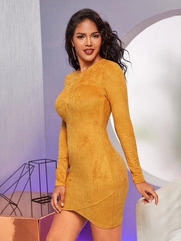 Zip Back Suede Bodycon Dress
