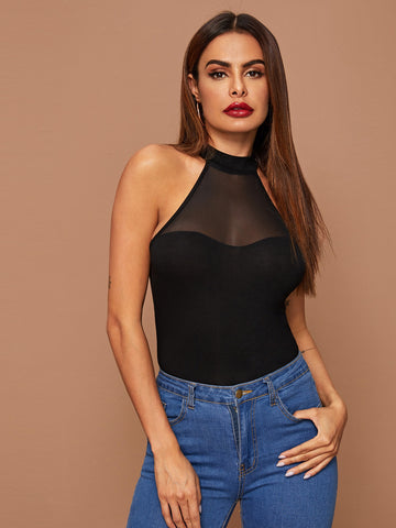 Mesh Yoke Fitted Halter Top