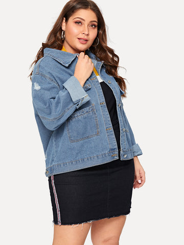 Plus Pocket Front Ripped Denim Jacket | Amy's Cart Singapore