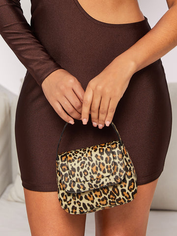 Leopard Flap Satchel Bag