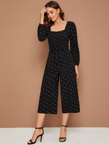 Square Neck Polka Dot Belted Culotte Jumpsuit
