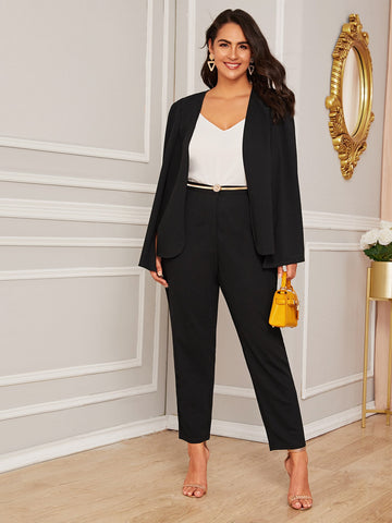 Plus Solid Cape Blazer & Pants Set Without Belt