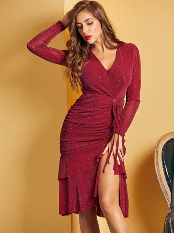 Drawstring Ruched Ruffle Hem Glitter Dress