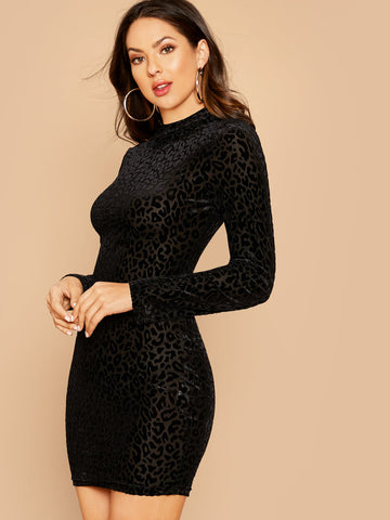 Mock-Neck Leopard Flock Bodycon Dress