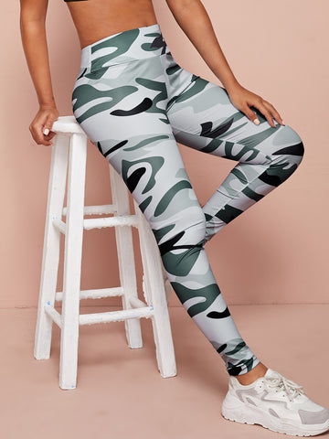 Camo Print Wide Band Waist Sports Leggings