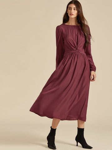 Twist Front Shirred Back A-line Dress | Amy's Cart Singapore