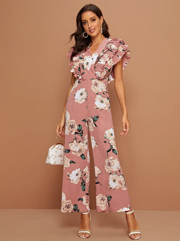 Layered Pleated Trim Floral Print Wide Leg Jumpsuit