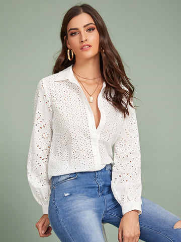 Lantern Sleeve Eyelet Embroidered Blouse