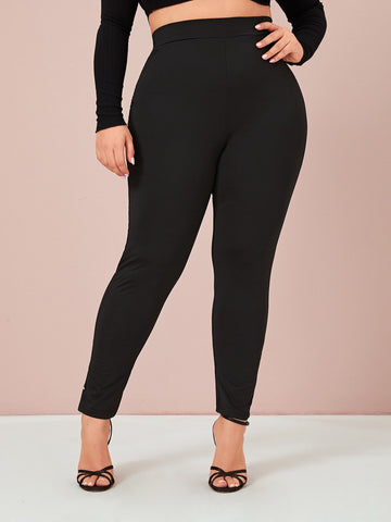 Plus Button Detail Solid Skinny Pants