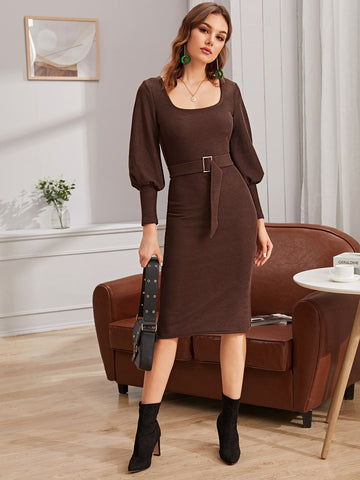 Gigot Sleeve Belted Bodycon Sweater Dress