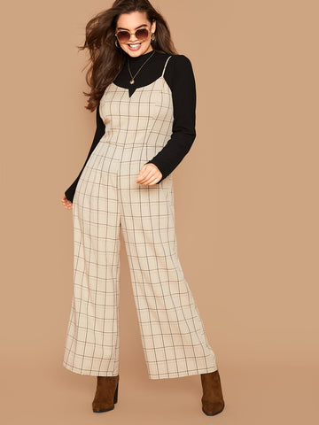 Plus Wide Leg Plaid Jumpsuit Without Top | Amy's Cart Singapore