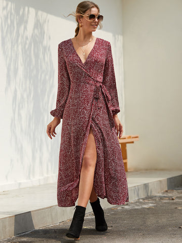 Bishop Sleeve Self Tie Wrap Dress