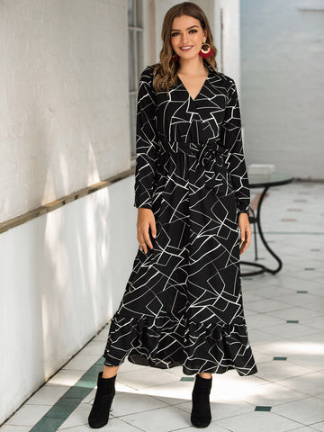 Geo Print Surplice Front Belted Dress | Amy's Cart Singapore